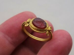Ancient Roman Gold Ring with carnelian Intaglio, date circa 4-5 century A.D.