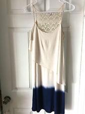 Dress, Tiered by Olive and Oak Small Stretch Tie Dye Beige Blue, Crochet EUC