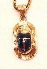 1980s era Egyptian inlaid Lapis 18kt Scarab Beetle Pendant w/ Italian gold chain
