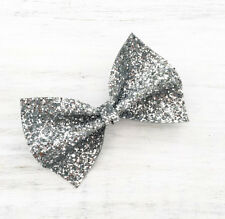 Silver sparkly glitter hair bow - Kawaii - Unicorn