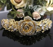 Gold tone clear rhinestone crystal high quality hair barrette clip ha2762