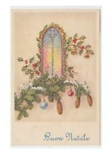 Natale window card good wishes decorations christmas bells pine cones spruce