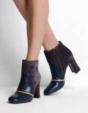 CHIE MIHARA SHOES GAMBLER ANKLE BOOTS NAVY LEATHER GRAY SUEDE GOLD BOOTIES $590