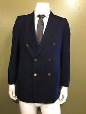 Vtg.Yves Saint Lauren Navy logo buttons Double Breasted Sport coat Jacket 38R