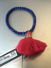 $48 Vince Camuto Beaded  Blue Tassel Stretch Bracelet VCC209