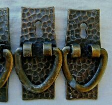 3 Lot Antique Hammered Brass Mission Bail bail Post Pull with Keyhole Vtg 4''A22