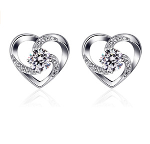 925 Sterling Silver Heart with Crystal Cubic Zirconia Stud Earrings