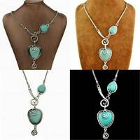 Vintage Turquoise Necklace Boho Silver Blue Heart Pendant Chain Women Jewelry