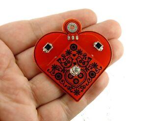 Cyberpunk  Solar blinking flashing LED Valentine heart pendant necklace