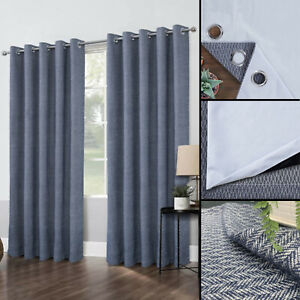 Navy Blue Faux Wool Pair Of Eyelet / Ring Top Blackout Ready Made Curtains