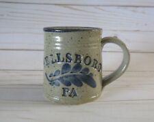 WELLSBORO PA Stoneware Pottery Coffee Mug Salt Glazed Cobalt Blue Decoration