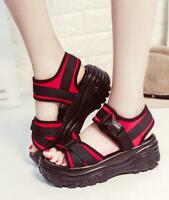 Womens Girls Med Wedge Platform Creepers Roman Sandals Open Toe Sport Shoes H546
