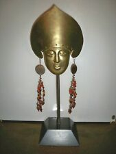 VINTAGE SOLID BRASS MASK ON WOODEN BASE  MADE IN SPAIN  19 1/4''