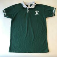 Vintage Michigan State University MSU Polo Shirt Boys Youth XL 18-20 Green White