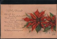"2 Bit Postcards-C181 ""To My Friend"" A Merry Christmas #2402D"