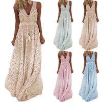 Ladies Sexy Boho Sleeveless V Neck Polka Dot Maxi Dress Summer Casual Sundress