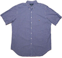 POLO RALPH LAUREN Short Sleeve Button Shirt Blue Checks Gingham XLT XL Tall