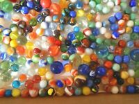 HUGE 400+ Vintage Glass Marbles Mixed Sizes Styles Swirl Shooters Agate Cateye