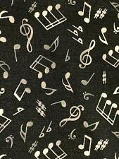 Fabric Music Notes White on Black Elizabeth Cotton 1/4 yard 148E-BLK