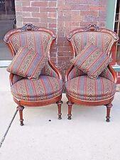 Victorian Antique ornate Walnut Parlor slipper Chair matching pair