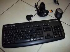Logitech Internet 1500 Laser Cordless Desktop Funk Tastatur Maus SCHWARZ Auflade