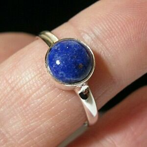 Sterling Solid SILVER Real Lapis Lazuli Gem Stone RING Jewellery Size S 9
