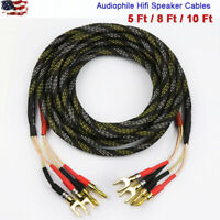 New Audiophile Hiend Hifi AMP Speaker 15 AWG Cables Banana spade Plug US