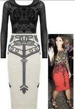 Kim Kardashian Midi Dress - Cream & Black -Skull Detail - New With Tags - Size 8