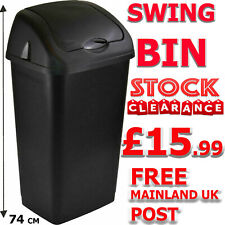More details for heidrun plastic swing top bin waste 60l rubbish dust home kitchen office black