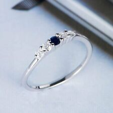0.35 CT Round Cut Blue & White Diamond Matching Band Solid 925 Sterling Silver