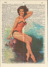 Pin-Up Girl Brunette Bathing Suit Altered Art Print Upcycled Vintage Dictionary