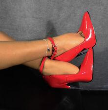 Sexy decolté stiletto tacco a spillo 15 cm in metallo vernice rosso lucido n° 35