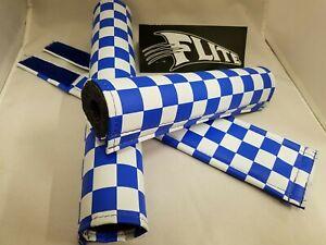 FLITE old school BMX foam padset pads - USA MADE!! - CHECKER BOARD BLUE