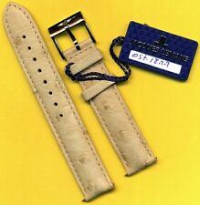 GENUINE BREITLING STEEL BUCKLE TANG and GENUINE CREAM OSTRICH STRAP BAND 18mm