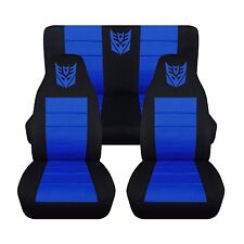 2005-2010 Chrysler 300 Front and Rear Black and Blue Jumpman Seat Covers ABF