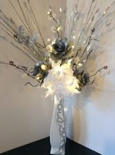 Artificial Silk Flower Arrangement In Silver Flowers White Glitter Vase