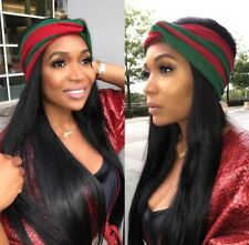 "Red and Green stripe Designer ""inspired"" Headband/turban"