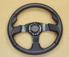 RACING STEERING WHEEL BLACK/RED UNIVERSAL PVC LEATHER LIGHT ALUMINUM DISH 320MM