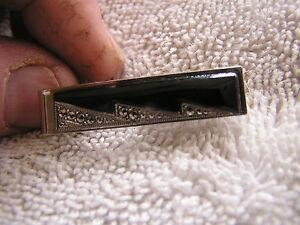 Vintage Tie Clip Clasp Tack Black with Marquesite