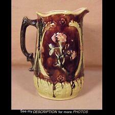 Antique English Majolica Milk Pitcher Foral Decoration