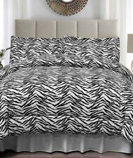 Zebra Print Full Queen Size Jersey Comforter & Pillow Sham Bed 3-Pc Set