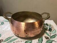 "S&S Beautiful Antique Hand Hammered 7"" Copper Pot Brass Handles Heavy 3.5"" HIGH"