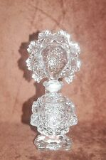 Antique Vintage Clear Crystal Perfume Bottle with Large Ornate Glass Stopper!