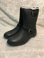 New Ugg Jenise Black Leather Waterproof Boots Women's Size 10 M