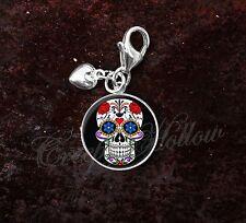 925 Sterling Silver Charm Sugar Skull Dia De Los Muertos Calavera