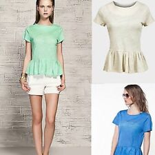 Zara Crew Neck Semi Fitted Tops & Shirts for Women