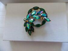 Blue Aurora Borealis & Green Rhinestone Gold Tone Brooch Pin #V48