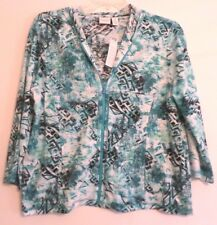 NWT! WEEKENDS BY CHICO'S 3/4 SLEEVE HOODED JACKET- 3(L/XL)-BLUE/WHITE-ZIP FRONT!