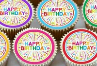 24 X HAPPY BIRTHDAY MIXED CUPCAKE TOPPERS EDIBLE PREMIUM RICE PAPER 2100