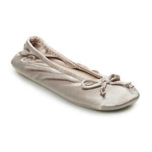 Ladies Isotoner SandtrapTaupe Beige Satin Ballet Style Slippers Soft Suede sole